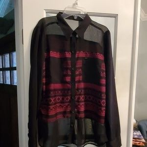 Hurley partially sheer blouse size L